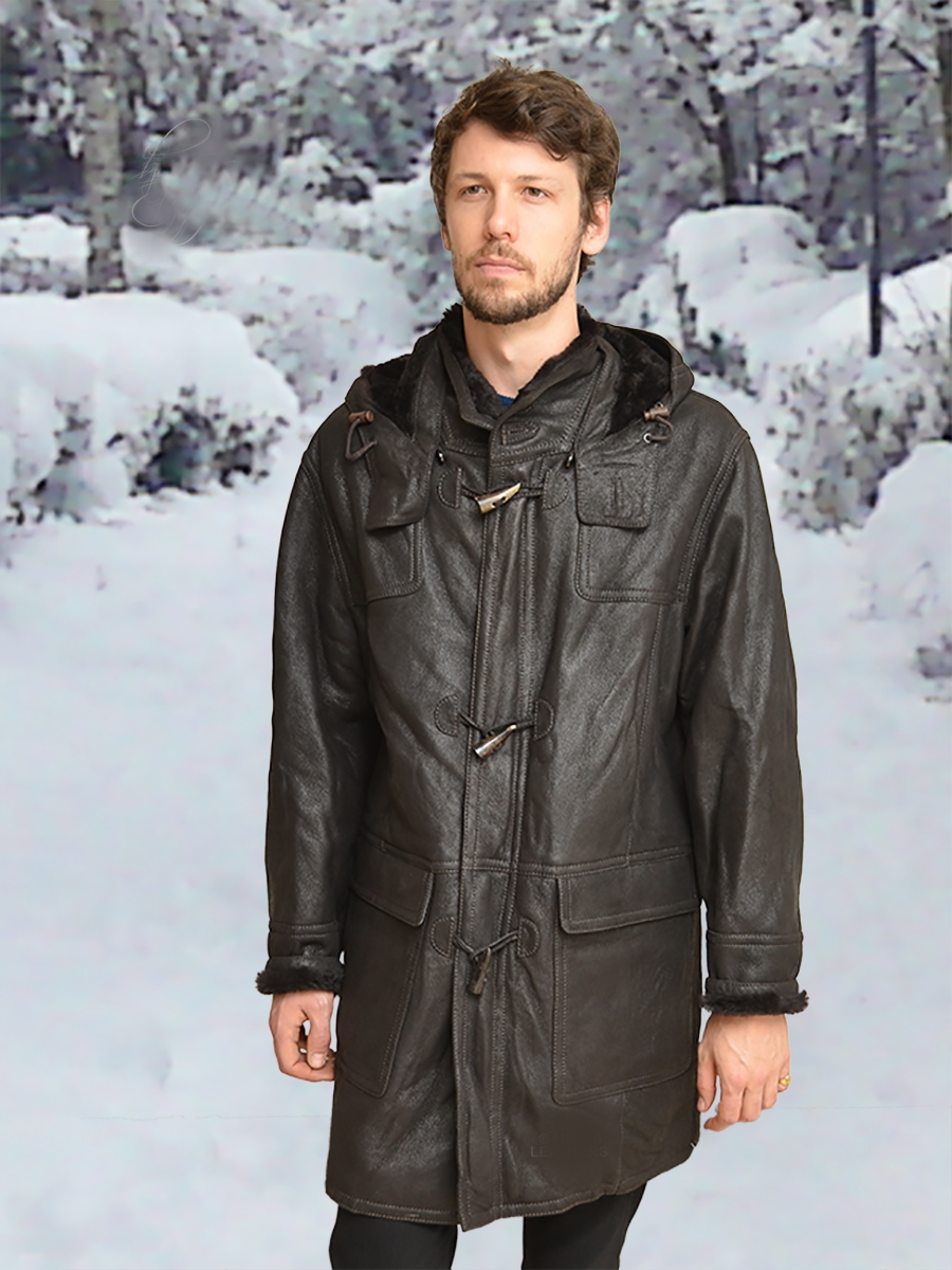 rudi brown sheepskin duffel coats for men