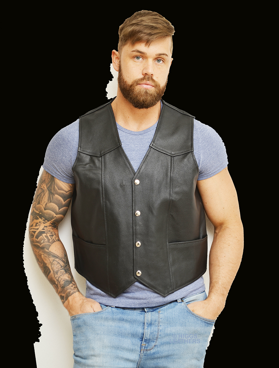 tracker mens black cowhide leather vests