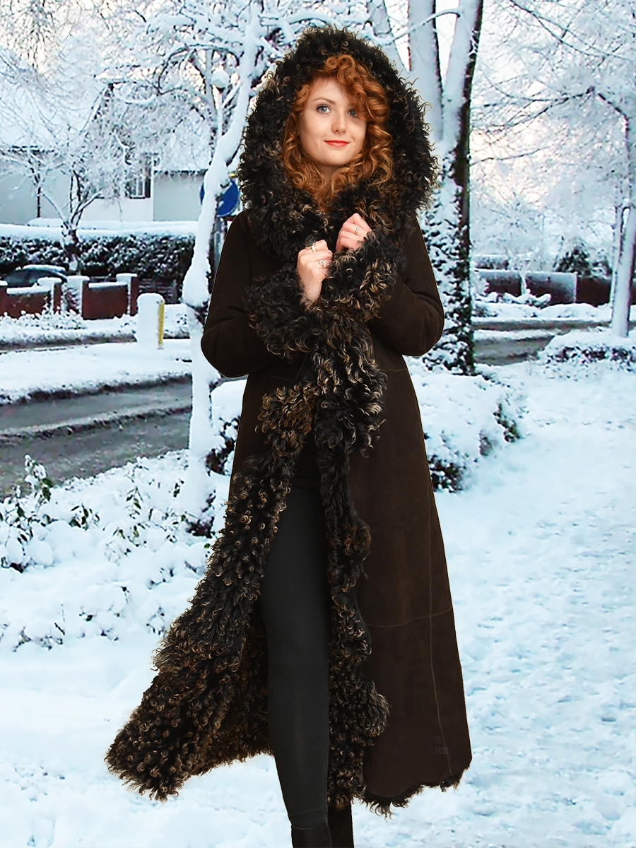 alana womens hooded black curly toscana coats
