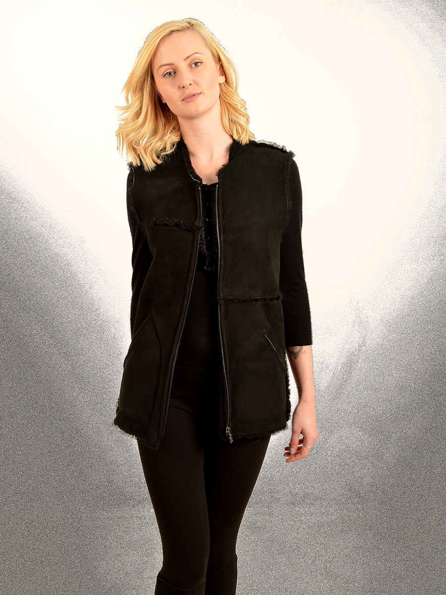 corbina womens black shearling long gilet