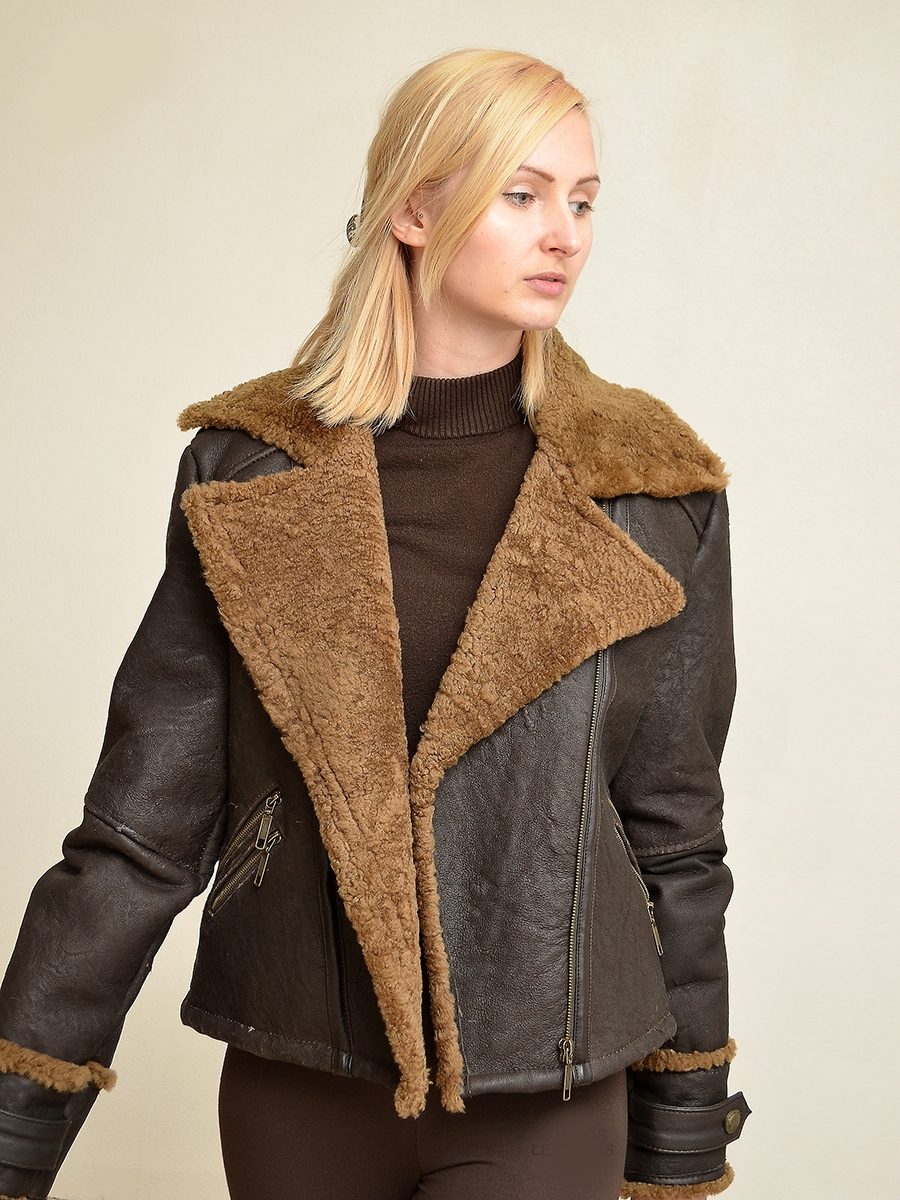 franzee womens brown sheepskin flying jackets