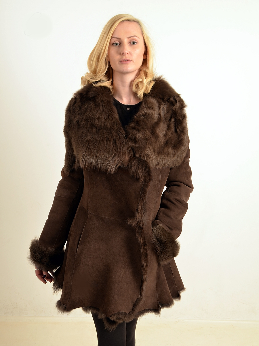 gabrielle womens mid brown toscana full collar coats