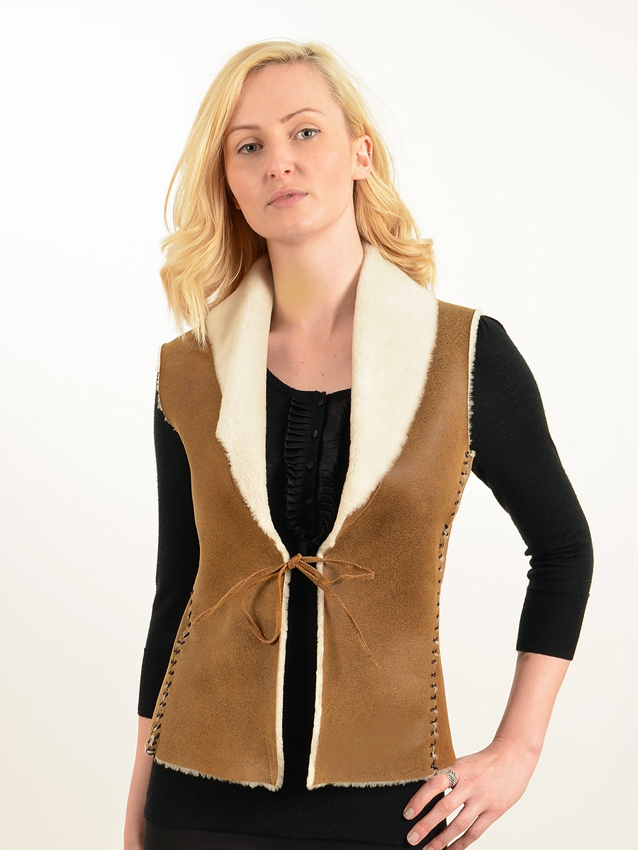 hannah womens distressed brown nappa shearling gilet