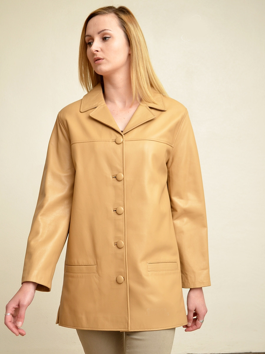 jennifer womens beige leather long jackets