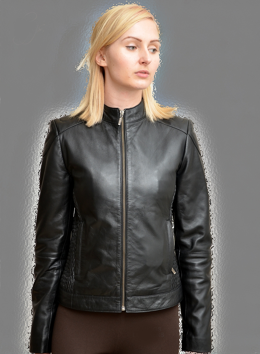 susan womens stretch sides black leather bikers jackets l