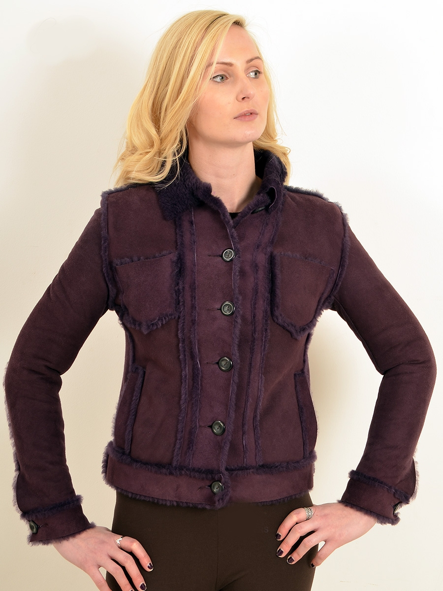 yaslin womens purple shearling jacket