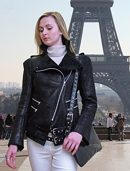 Higgs Leathers LAST TWO SAVE £250!  Beth (ladies Designer Shearling flying jacket)
