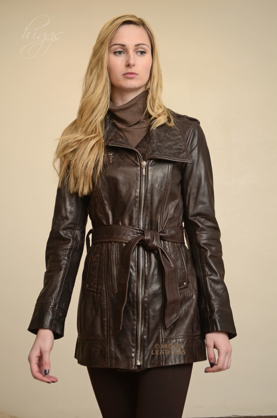 Higgs Leathers | Buy Kazzi (ladies Brown Designer Leather jackets