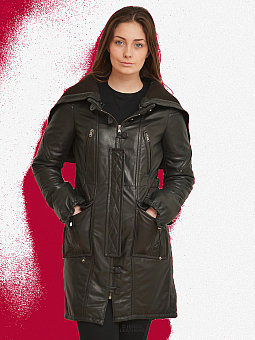 Ladies Leather Parka Coats