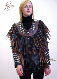 Higgs Leathers LAST ONE! Pow Wow! (women's Fringed black leather jackets)