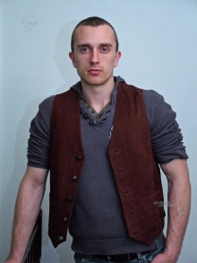 Higgs Leathers ALL SOLD! Ronnie (men's Antique Tan Nubuck Waistcoats/Vests)