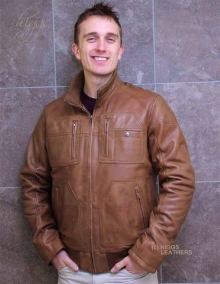 Higgs Leathers Bill (men's brown Leather Bomber jackets)