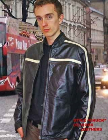 Higgs Leathers SOLD! Chuck (Striped mens Black Leather jackets)