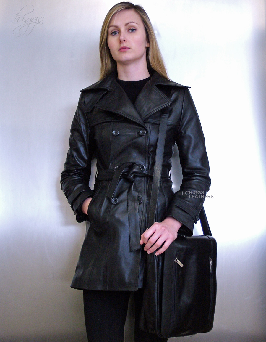 Latrench (ladies Black Leather Trench coats) online at UK shop