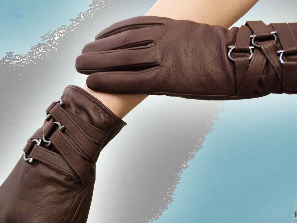 Buy ladies leather gloves online - 72338 Ladies Brown Leather Strap Gloves
