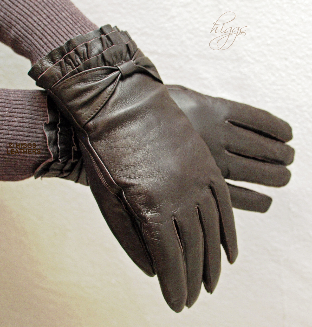 Ladies leather gloves large - Higgs Leathers Style 74003 Ladies Pleated Wrist Brown Leather Gloves