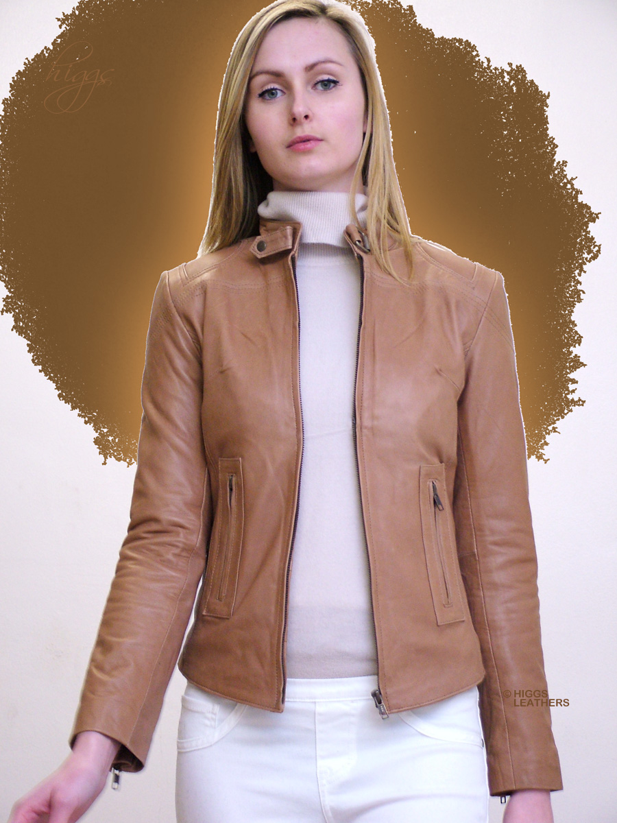 Higgs Leathers | Buy Betty (ladies Beige Leather Bikers jackets ...