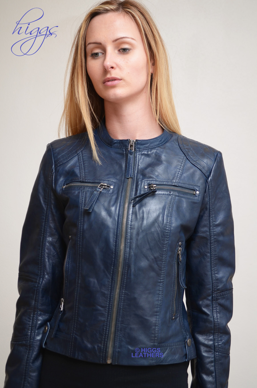 Navy Leather Jacket Womens