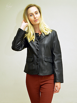 Higgs Leathers ALL SOLD!  Blanche (ladies Black Leather blazer jacket)