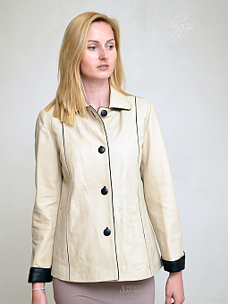 Higgs Leathers NEW!  Chris (Special quality women's beige and black leather jackets)