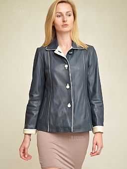 Higgs Leathers NEW!  Chris (Special quality women's blue and ivory leather jackets)