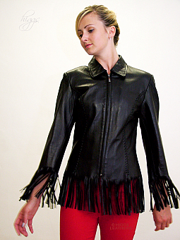 Higgs Leathers SOLD HALF PRICE!  Francey (ladies fringed Black Leather jacket)