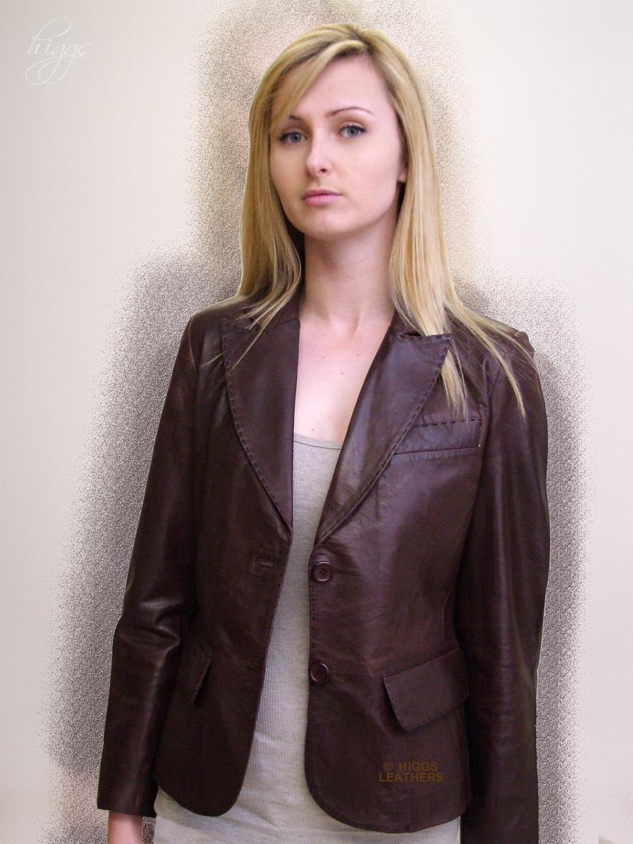 Leather jacket uk womens - Higgs Leathers Izzie Ladies Brown Leather Blazer Jackets Superb Saddle Stitched Leather Blazer