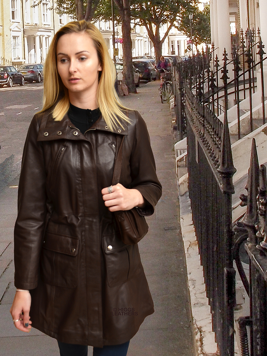Higgs Leathers | Buy Palomas (ladies Brown Leather Parka coats ...