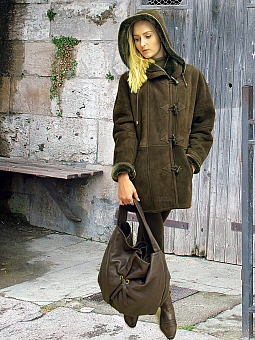 Higgs Leathers NEW PICTURE!  Debbie (ladies Hooded Merino Shearling duffle coats)
