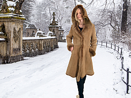 Higgs Leathers NEW PICTURE!  Letizia (ladies Hooded Toscana Shearling coat)