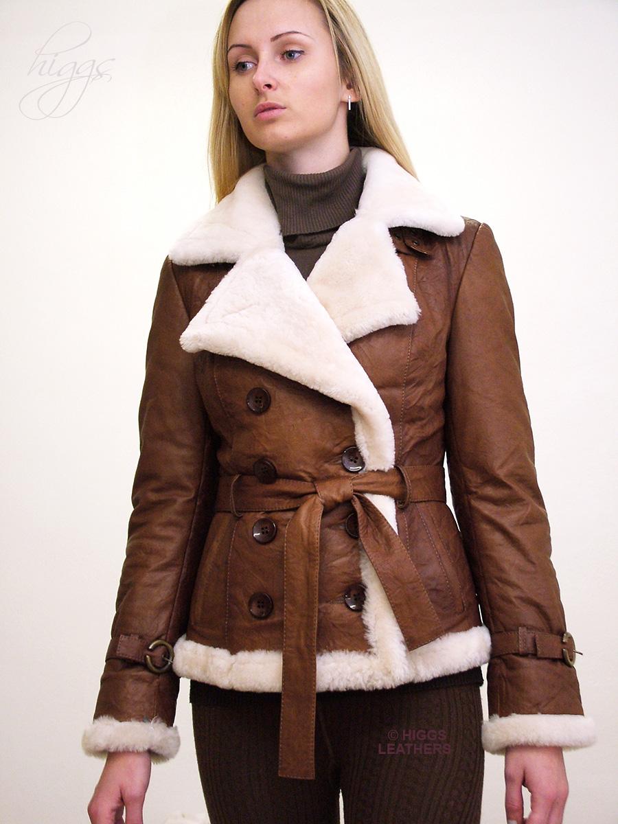 Leather jacket uk womens - Betia Ladies Sheepskin Lined Belted Leather Jackets New