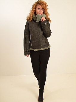 Higgs Leathers NEW!  Laska (ladies Grey Shearling Flying jackets)
