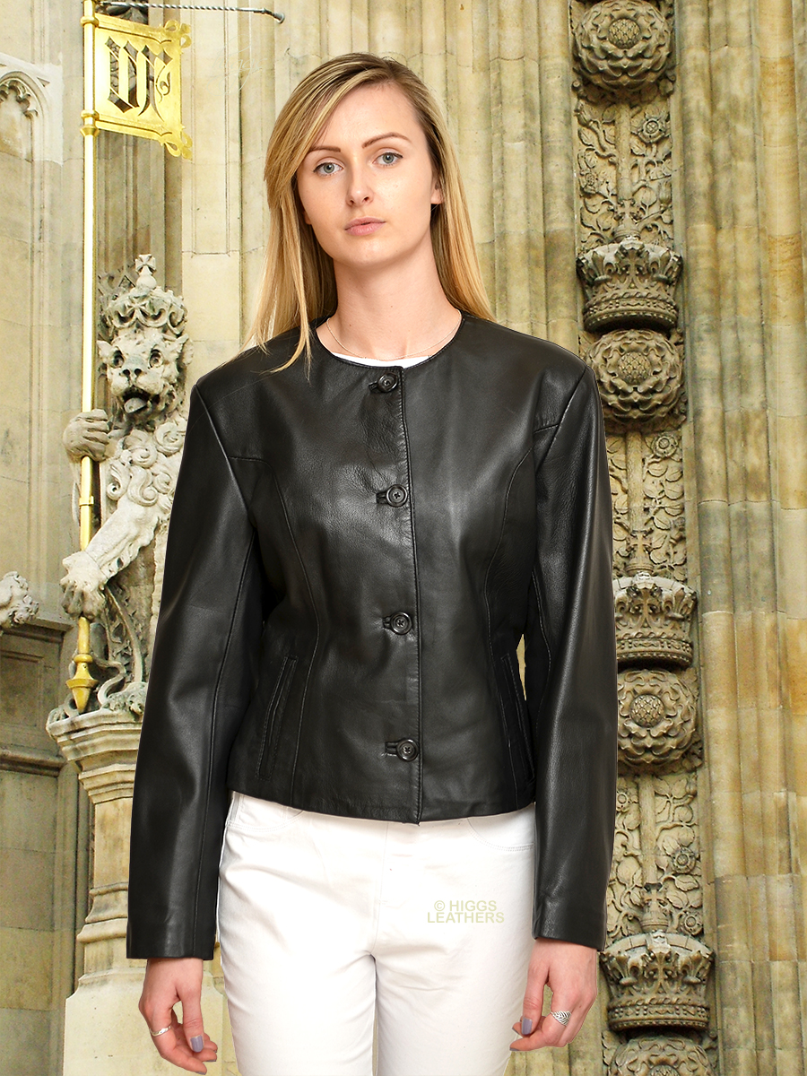Higgs Leathers | Buy Coco (ladies cropped Black Leather jackets ...