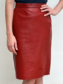 Higgs Leathers Cassy (ladies knee length Red Leather skirts)