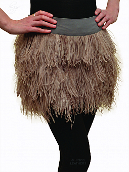 Higgs Leathers UNDER HALF PRICE!  Fritzy (taupe Ostrich Feather mini skirts)