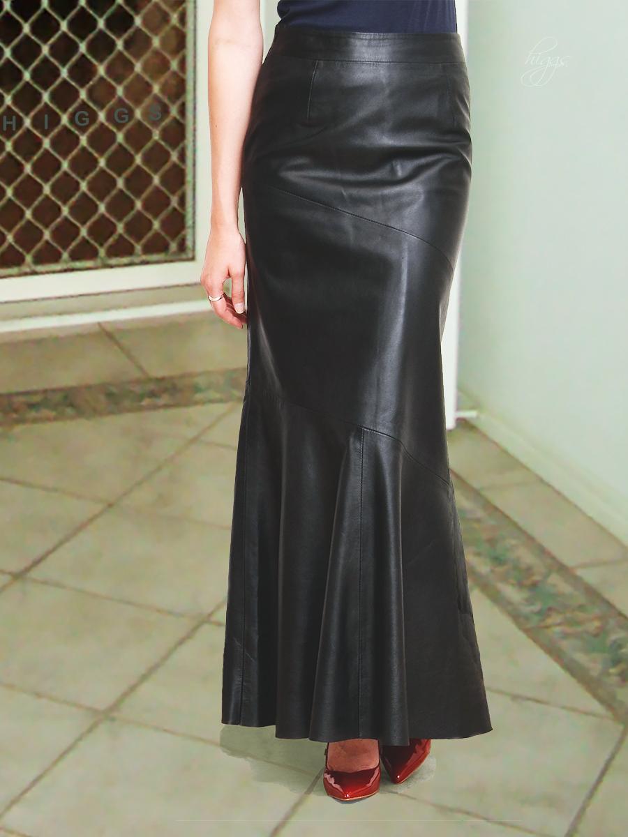 ankle length leather skirt redskirtz
