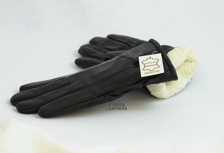 Mens leather gloves rabbit fur lined - Black Leather Gloves With Rabbit Fur Lining
