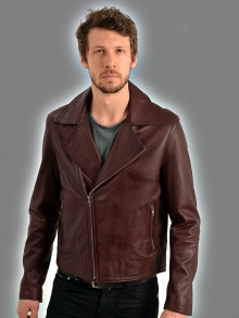 Higgs Leathers NEW!  Brant (men's Burgundy Leather Biker jackets)
