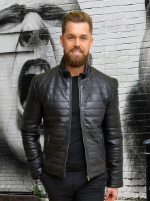 Higgs Leathers FEW ONLY HALF PRICE!  Pablo (Black Leather Puffa Biker jacket)