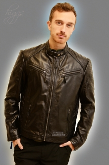 Higgs Leathers FEW ONLY!  Sergios (mens Black Leather Biker jacket)