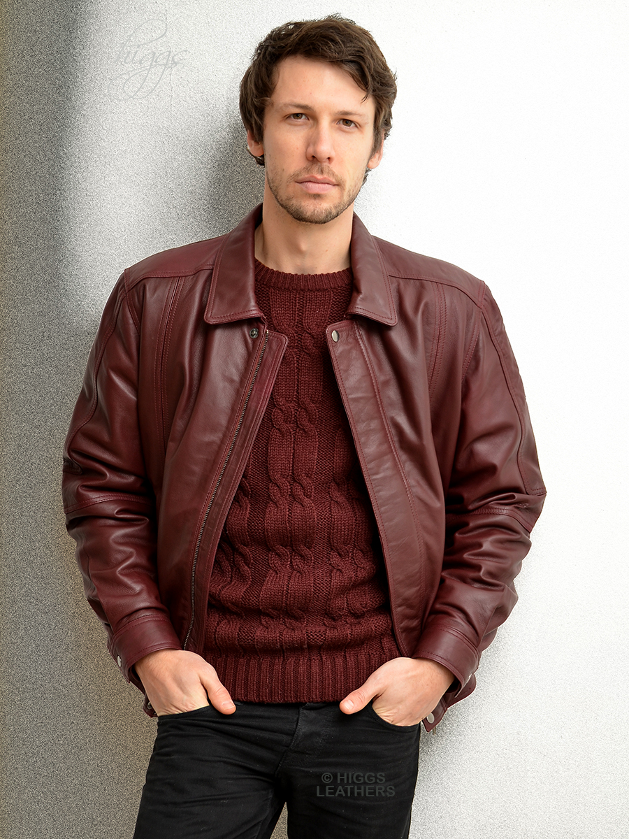 Mens leather blouson jacket