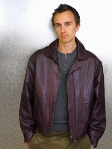 Higgs Leathers Kurt (men's Burgundy Leather Blouson jackets)