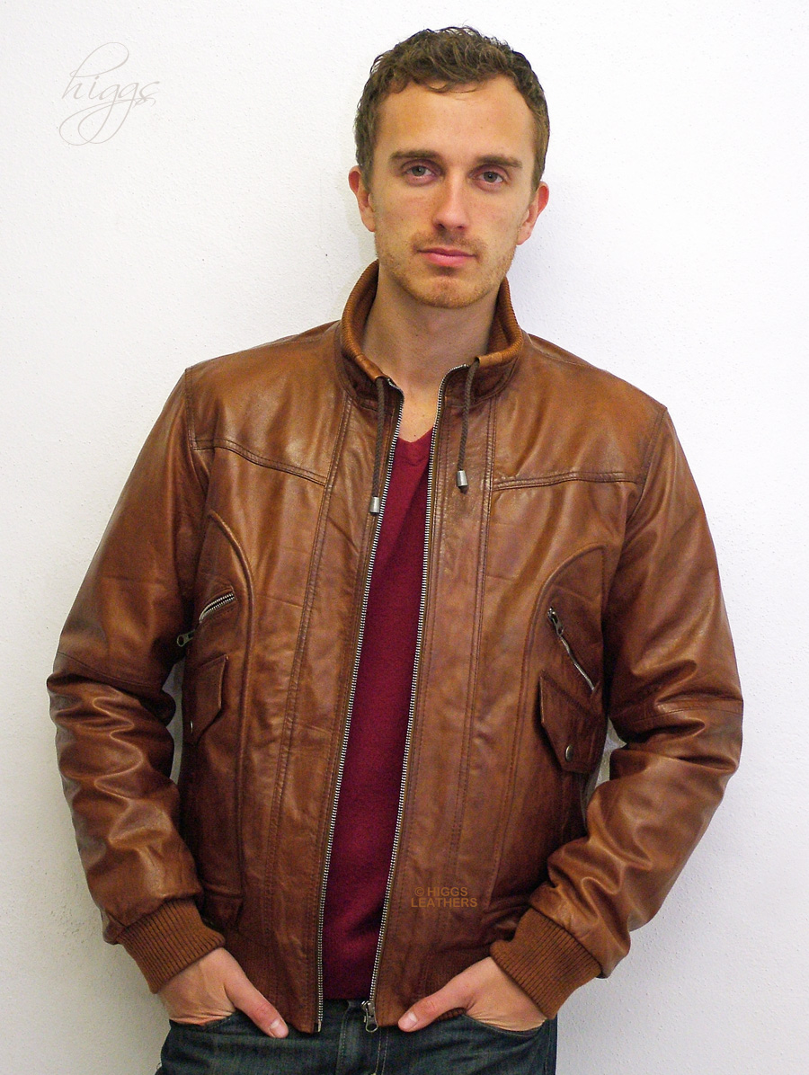 Mens Tan Brown Leather Jacket Miami | Black Models Picture