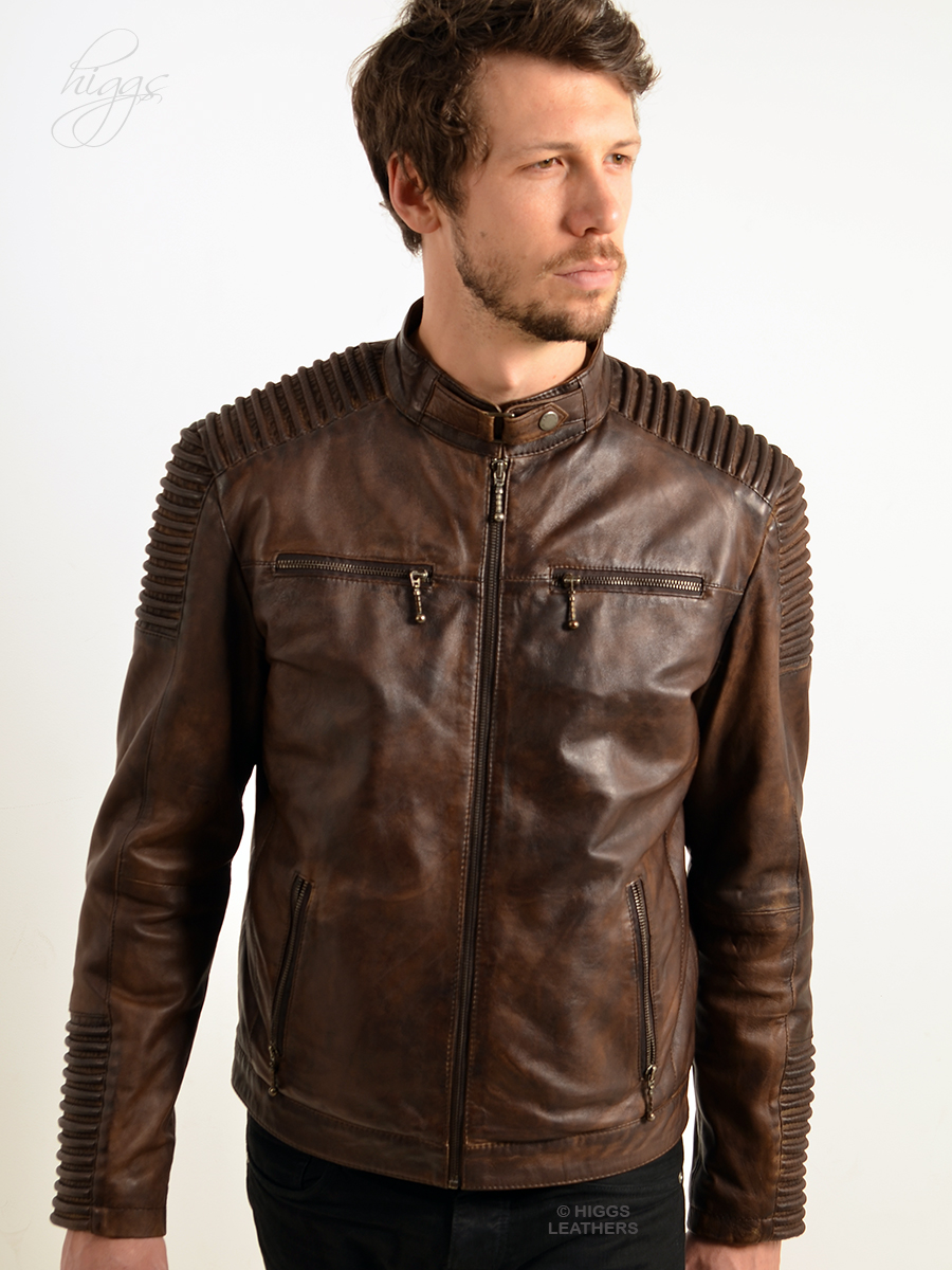 Higgs Leathers | Buy Jordan (men's Brown Leather Biker jackets ...