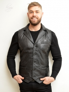 Higgs Leathers FEW ONLY!  Howie (Black Leather vests/waistcoats for men)