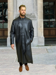 Higgs Leathers ONE ONLY SOLD! Mathias (extra long Black Leather coats for men)