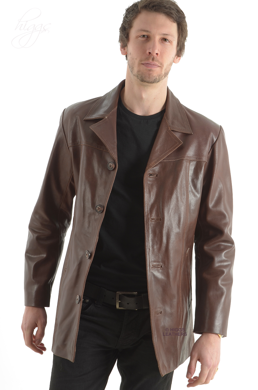 Leather jacket uk mens - Alroy Men S Brown Leather Long Jacket Sold
