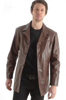 Alroy Mens Brown Leather Long Jacket Sold