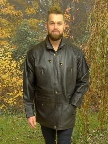 Higgs Leathers FEW ONLY SAVE £80!  Michael (men's dark brown leather Parka jacket)