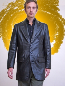 Higgs Leathers NEW!  Milos (men's extra long Black Leather jackets)